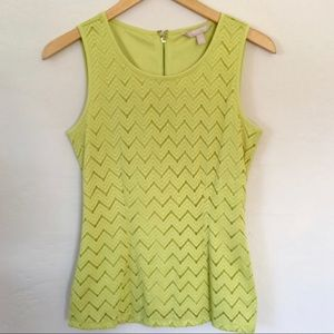 Banana Republic lace overlay chartreuse blouse